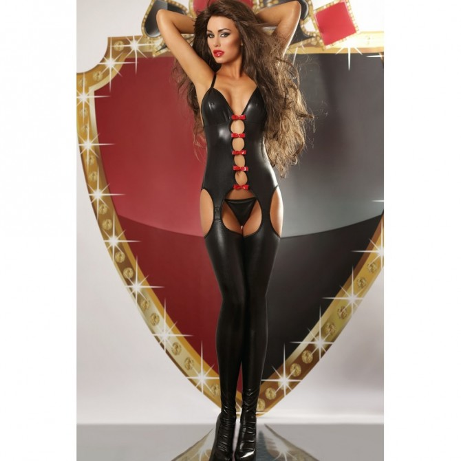 Mistress Catsuit wetlook schwarz im Chaps Stil