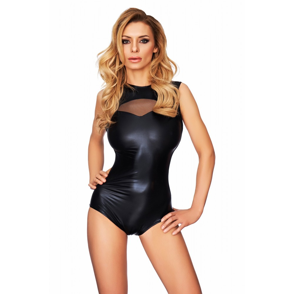 Wetlook Body mit Taftcutout im Dekolte